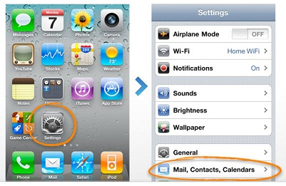 2. เข้าไปที่ Settings -> Mail Contacts, Calendars