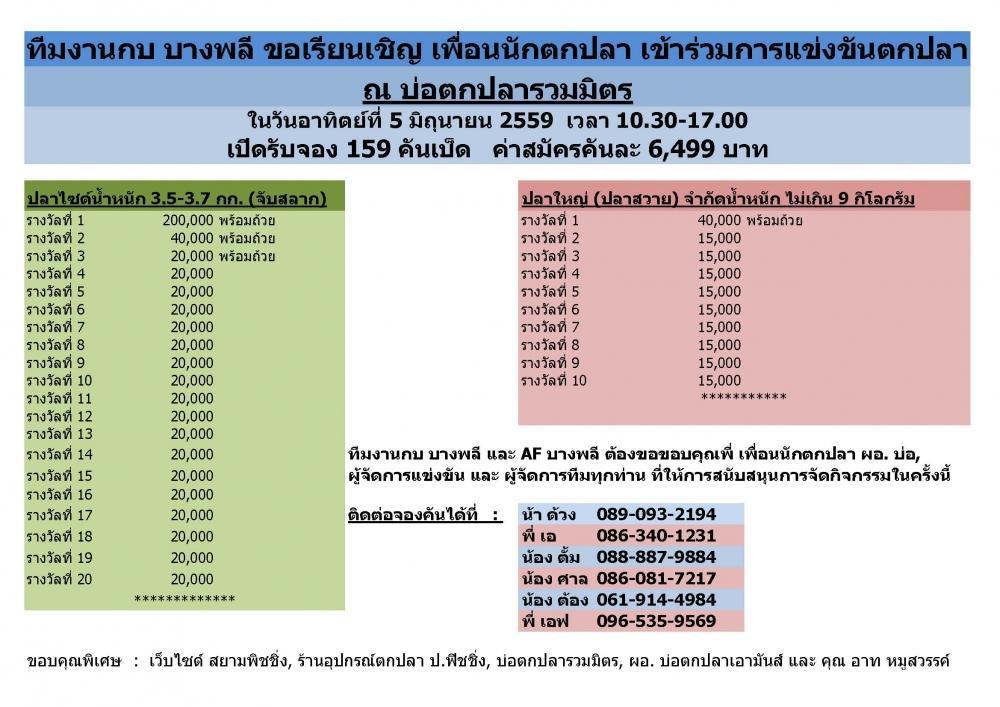 หัว..200,000.-บาท จัดโดยกบ(AF)  บางพลี วันอาทิตย์ทึ 5 มิถุนายน 2559 จอง 159 คัน