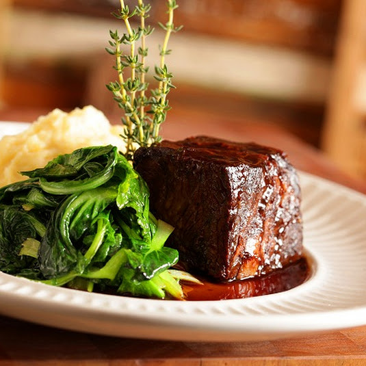 Boneless Braised Short Ribs with Black Riceberry and Bok Choy.