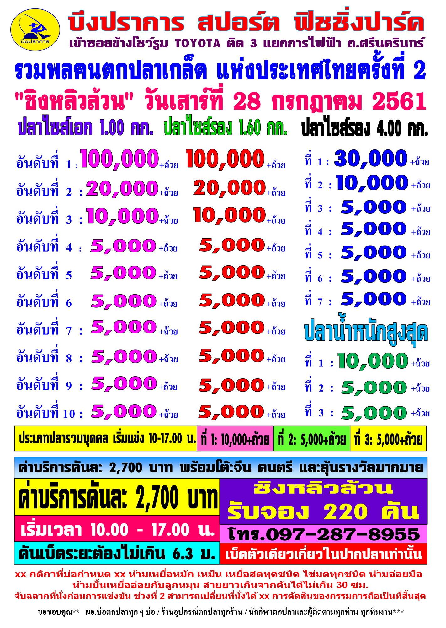 แข่งชิงหลิวล้วน หัว 100,000 รวม 4 หัว 250,000 หาง 5,000 ค่าคัน 2,700