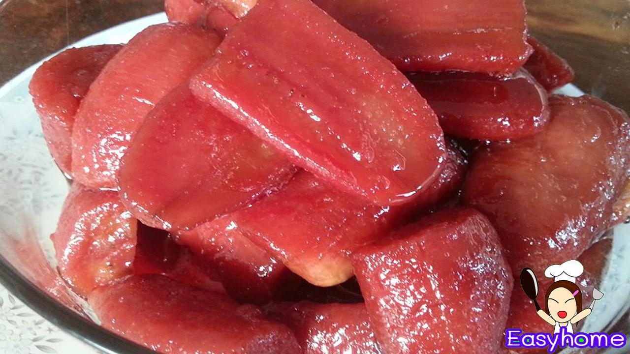 กล้วยเชื่อมแดง วิธีทําอย่างละเอียดให้ กล้วยแดงๆๆน่าทาน และสีแดงน่าทาน  นุ่ม หนึ