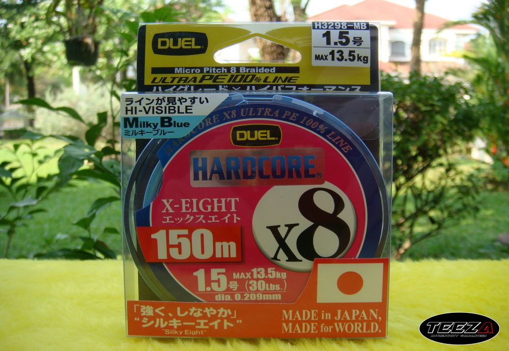 [b][center]9.  DUEL HARDCORE X8 Milky Blue 1.5  ม้วนละ  750  บาท[/b][/center]